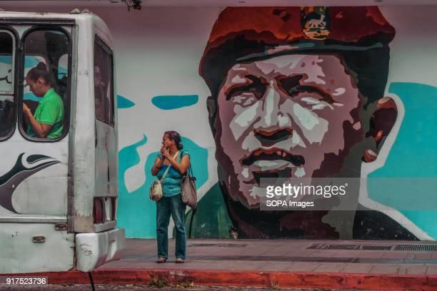 ESTE CARACAS MIRANDA VENEZUELA A graffiti wall with a painting of the former Venezuelan president Hugo Chavez seen at the cemetery Remembrance...