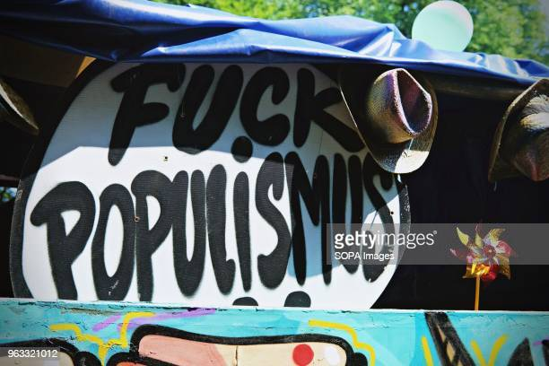 A graffiti with the words 'Fuck Populismus' seen during the protest Techno lovers and anti racism activists have marched in Berlin against a rally...