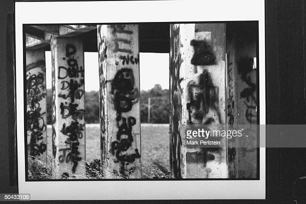 Graffiti written on pillars at abandoned cotton gin where accused murderers Michael Damien Wayne Echols Jessie Lloyd Misskelley Jr Charles Jason...