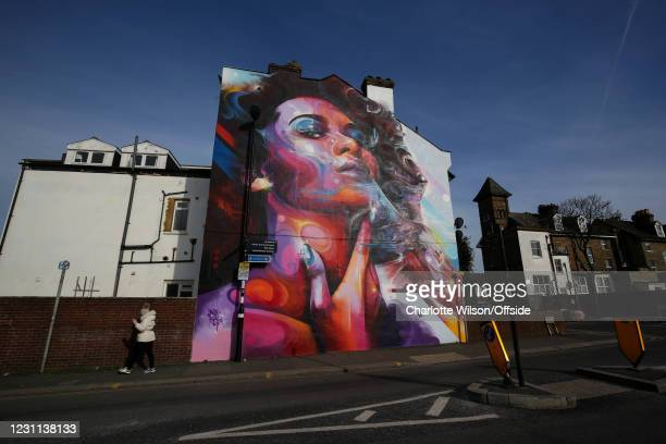 Graffitied mural featuring an eagle outside Selhurst Park ahead of the Premier League match between Crystal Palace and Burnley at Selhurst Park on...