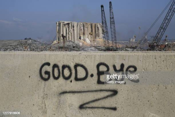 """Graffitied wall reading """"goodbye"""" pictured in front of the smoldering buildings in the city's port, destroyed by an explosion a day earlier, on..."""