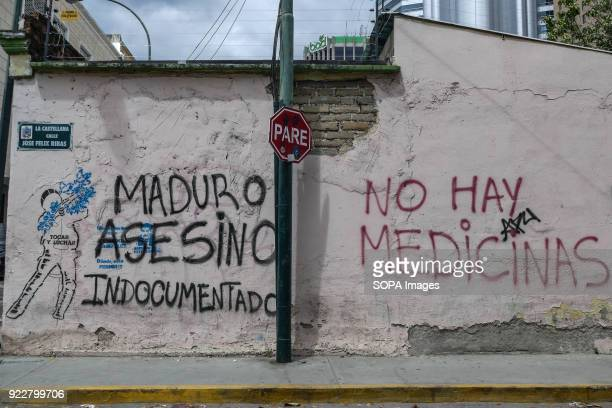 A graffitti on a wall where you can read 'Maduro murderer undocumented' and 'No Medicines' People perform these graffiti to show discontent with the...