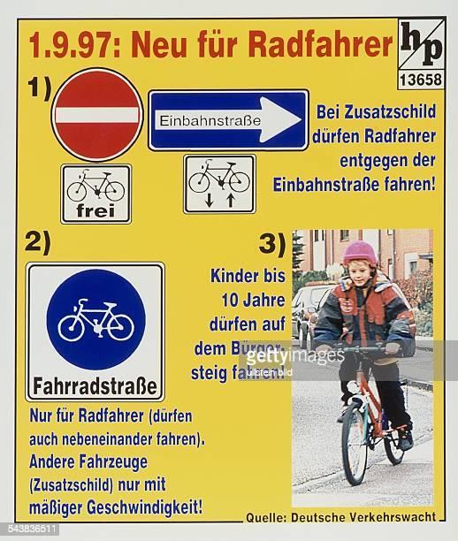 Grafische Darstellung der neuen Regeln für Fahrradfahrer im Straßenverkehr. Neben diveresen Straßenschildern für Radfahrer ist ein Kind mit Fahrrad...