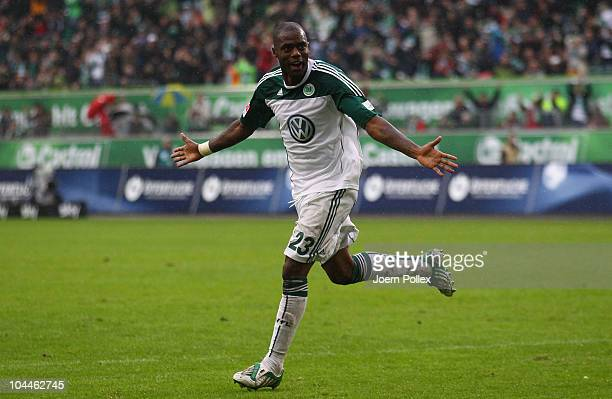 Grafite of Wolfsburg celebrates after scoring his team's second goal during the Bundesliga match between VFL Wolfsburg and SC Freiburg at Volkswagen...