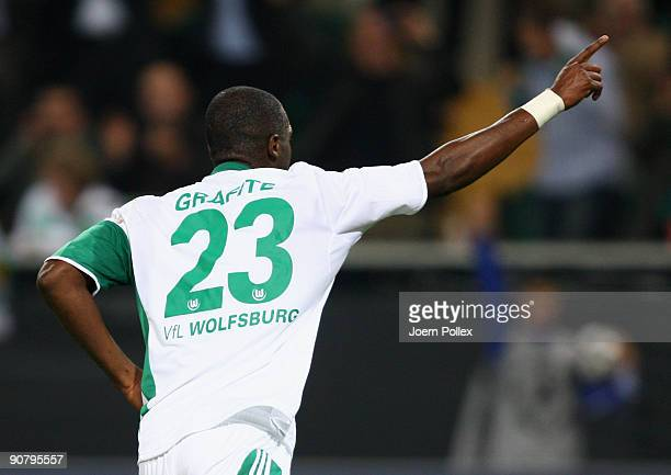 Grafite of Wolfsburg celebrates after scoring his team's second goal during the UEFA Champions League Group B match between VfL Wolfsburg and CSKA...