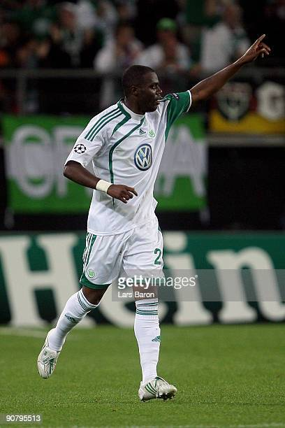 Grafite of Wolfsburg celebrates after scoring the first goal during the UEFA Champions League Group B match between VfL Wolfsburg and CSKA Moscow at...