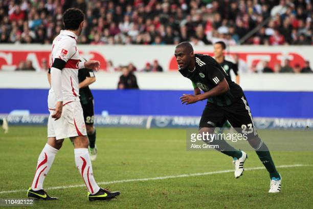 Grafite of Wolfsburg celebrates his team's first goal during the Bundesliga match between VfB Stuttgart and VfL Wolfsburg at MercedesBenz Arena on...