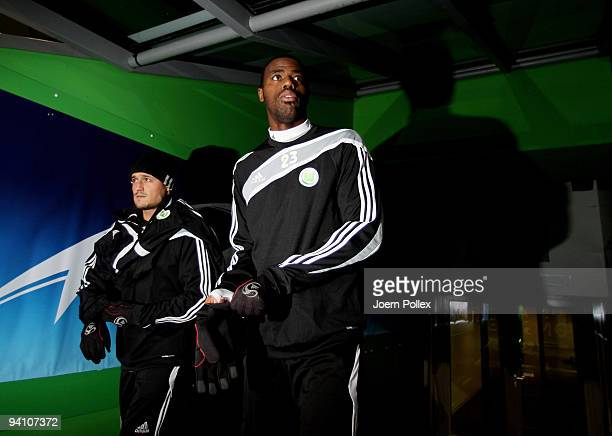 Grafite of Wolfsburg enters the pitch during a training session at the Volkswagen Arena on December 7, 2009 in Wolfsburg, Germany. VfL Wolfsburg will...