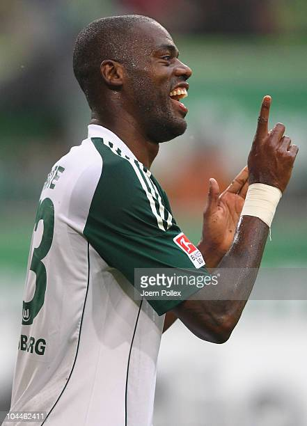 Grafite of Wolfsburg gestures during the Bundesliga match between VFL Wolfsburg and SC Freiburg at Volkswagen Arena on September 26 2010 in Wolfsburg...