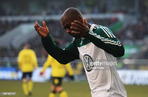 Grafite of Wolfsburg gestures during the Bundesliga match between VfL Wolfsburg and Borussia Dortmund at the Volkswagen Arena on January 29 2011 in...