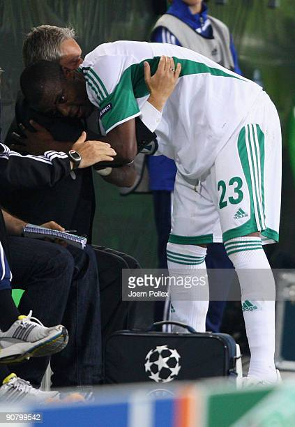 Grafite of Wolfsburg hugs his head coach Armin Veh after being substituted during the UEFA Champions League Group B match between VfL Wolfsburg and...