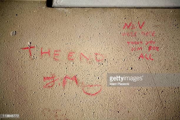 A grafitti from a fan is seen in the lobby of the last adress of US rock singer Jim Morrison on May 8 2011 in Paris France