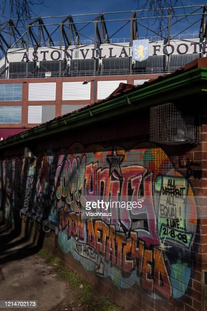 Grafitti on a building opposite the Trinity Road Stand of Villa Park home of Aston Villa FC on March 23 2020 in Birmingham United Kingdom