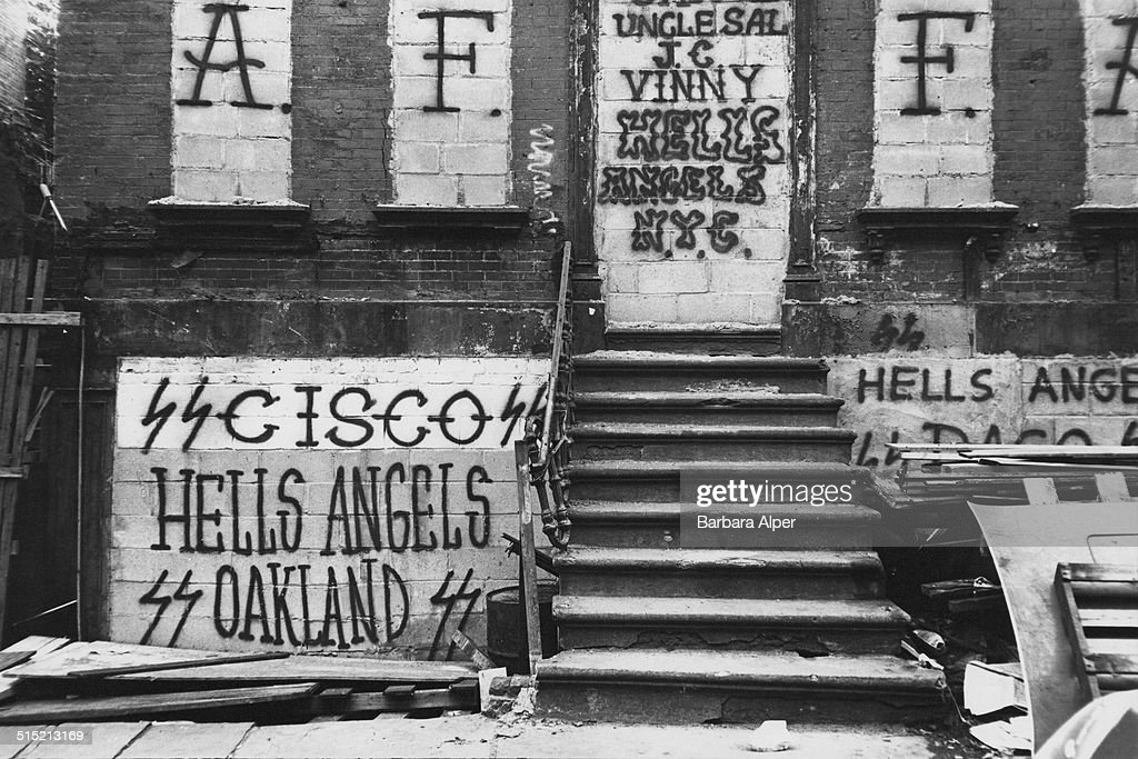 Grafitti on East Third Street, near the headquarters of the Manhattan chapter of the Hell's Angels Motorcycle Club, New York City, 1981.
