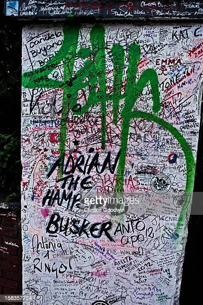 Grafitti on the entrance of the Abbey Road Studios on October 19 2012 in London United Kingdom