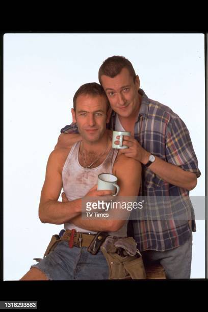Grafters actors Robson Green and Stephen Tompkinson in character as brothers Joe and Trevor Purvis, circa 1999.