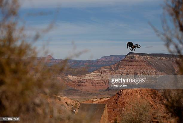 Graham Agassiz of Canada goes over a jump during the qualification round for the Red Bull Rampage on October 15 2015 in Virgin Utah The Red Bull...