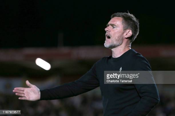 Graham Alexander manager of Salford City during the Carabao Cup First Round match between Salford City and Leeds United at Moor Lane on August 13...