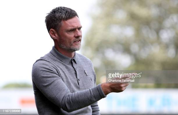 Graham Alexander manager of Salford City gestures during the Sky Bet League Two match between Crawley Town and Salford City at The Peoples Pension...