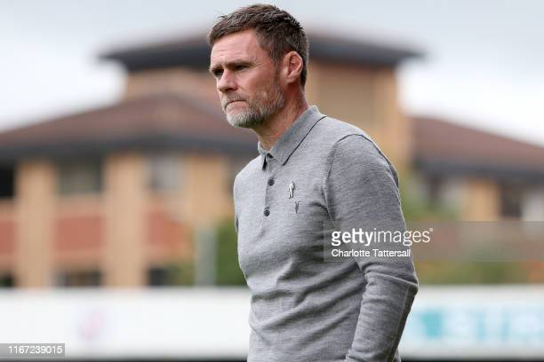 Graham Alexander manager of Salford City looks on during the Sky Bet League Two match between Crawley Town and Salford City at The Peoples Pension...
