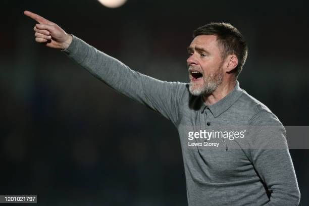 Graham Alexander, manager of Salford City reacts during the Leasing.com Trophy Quarter Final match between Salford City and Accrington Stanley at...