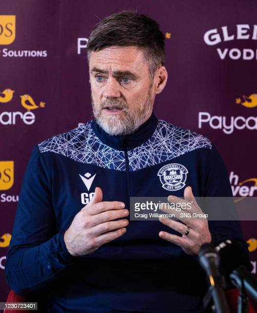 Graham Alexander talks to the media during a Motherwell press conference at Fir Park , on January 22 in Motherwell, Scotland.