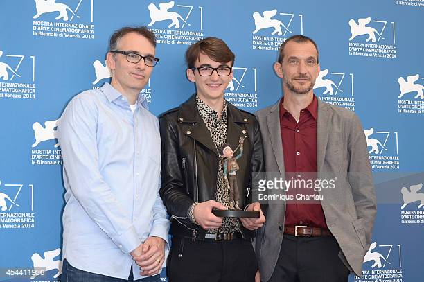 Graham Annable Isaac HempsteadWright and Anthony Stacchi attend 'The Boxtrolls' photocall during the 71st Venice Film Festival on August 31 2014 in...
