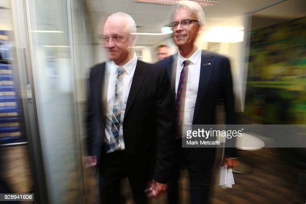 Graham Arnold arrives at a press conference announcing the succession plan for long term appointment of head Socceroos coach at FFA Headquarters on...