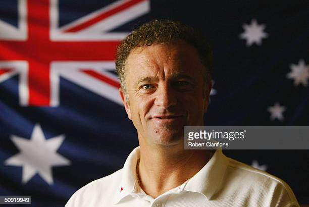 Graham Arnold assistant coach of Australia poses for an official team portrait during the Australian Socceroos media call at the Radisson Hotel on...