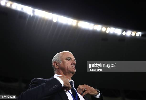 Graham Arnold coach of of Sydney FC looks on during the ALeague Semi Final match between Sydney FC and the Perth Glory at Allianz Stadium on April 29...