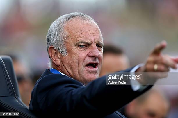 Graham Arnold coach of Sydney FC gestures during the round two ALeague match between the Newcastle Jets and Sydney FC at Hunter Stadium on October 17...