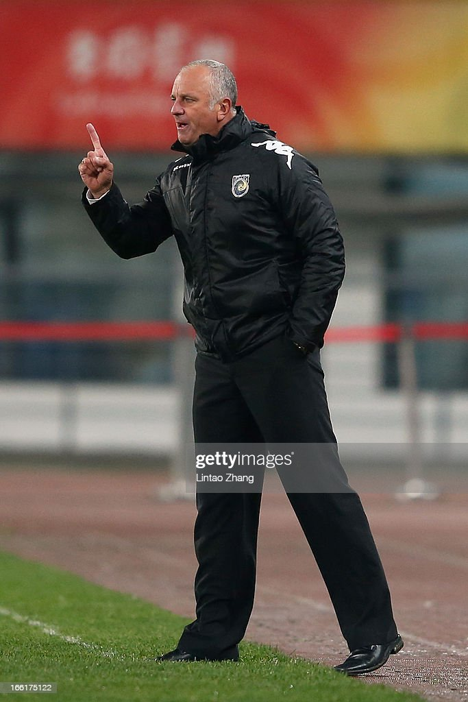 Graham Arnol,d coach of the Mariners, gestures during the AFC Champions League match between Guizhou Renhe and Central Coast Mariners at Olympic Sports Center on April 9, 2013 in Guiyang, China.