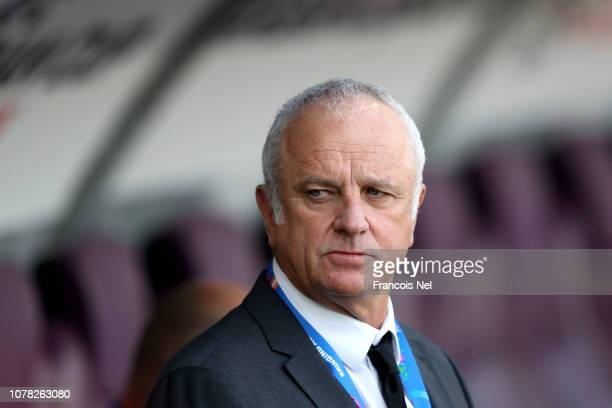 Graham Arnold head coach of Australia looks on during the AFC Asian Cup Group B match between Australia and Jordan at Hazza Bin Zayed Stadium on...