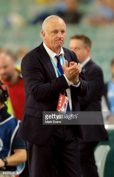 Graham Arnold Head Coach of Sydney FC applauds his team at the end of the round 26 ALeague match between Sydney FC and Adelaide United at Allianz...