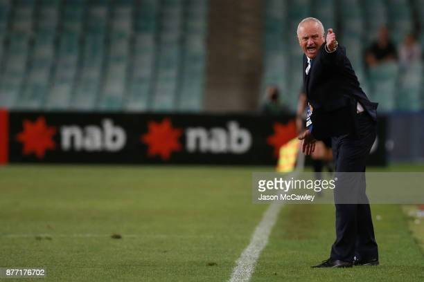 Graham Arnold head coach of Sydney gestures during the FFA Cup Final match between Sydney FC and Adelaide United at Allianz Stadium on November 21...