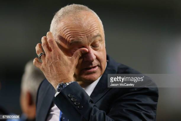 Graham Arnold head coach of Sydney reacts after winning the 2017 ALeague Grand Final match between Sydney FC and the Melbourne Victory at Allianz...