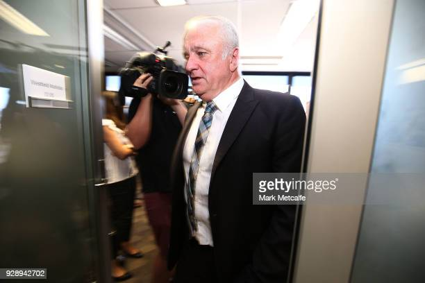 Graham Arnold leaves a press conference announcing the succession plan for long term appointment of head Socceroos coach at FFA Headquarters on March...
