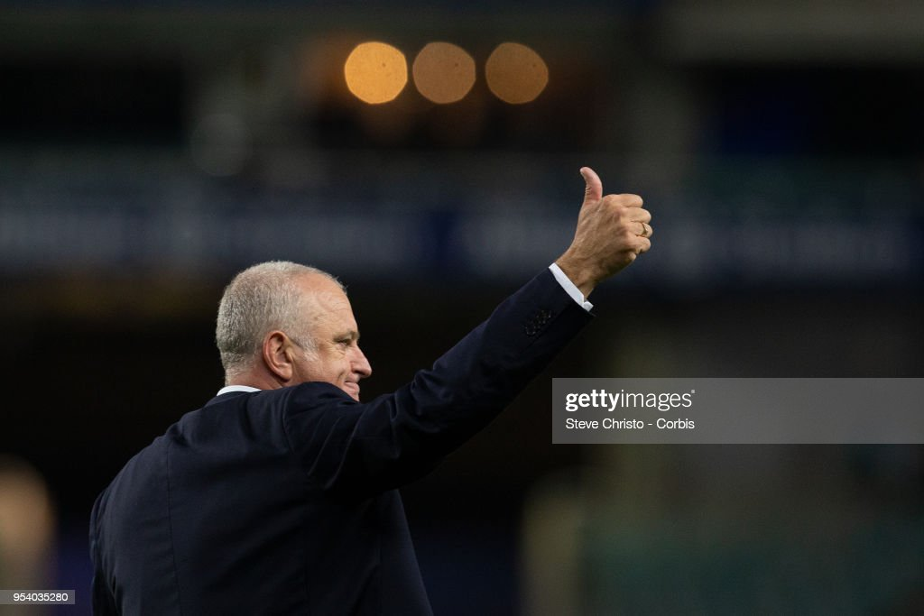 Graham Arnold of Sydney thanks the fans for the last time as Sydney FC coach after the A-League Semi Final match between Sydney FC and Melbourne Victory at Allianz Stadium on April 28, 2018 in Sydney, Australia.