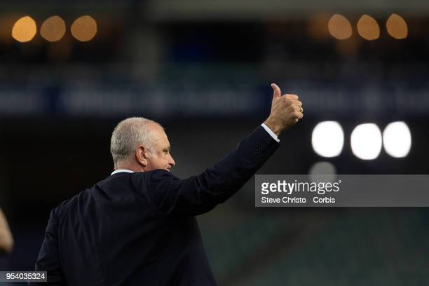 Graham Arnold of Sydney thanks the fans for the last time as Sydney FC coach after the ALeague Semi Final match between Sydney FC and Melbourne...