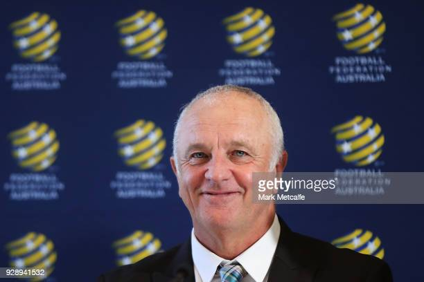 Graham Arnold smiles during a press conference announcing the succession plan for long term appointment of head Socceroos coach at FFA Headquarters...