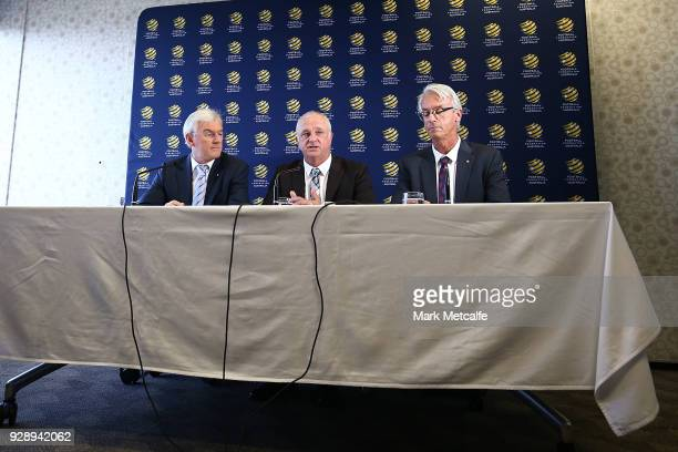 Graham Arnold speaks to the media during a press conference announcing the succession plan for long term appointment of head Socceroos coach at FFA...