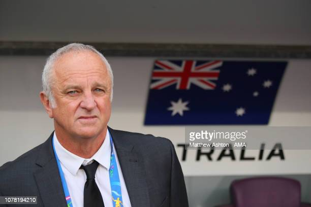Graham Arnold the head coach / manager of Australia looks on during the AFC Asian Cup Group B match between Australia and Jordan at Hazza Bin Zayed...