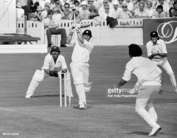 Graham Barlow batting for England during his innings of 42 runs in the 1st Prudential Trophy One Day International between England and Australia at...