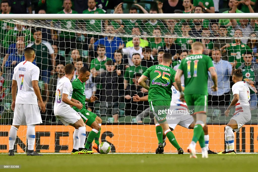 Graham Burke of the Republic of Ireland scores his sides first goal during the International Friendly match between the Republic of Ireland and The United States at Aviva Stadium on June 2, 2018 in Dublin, Ireland.