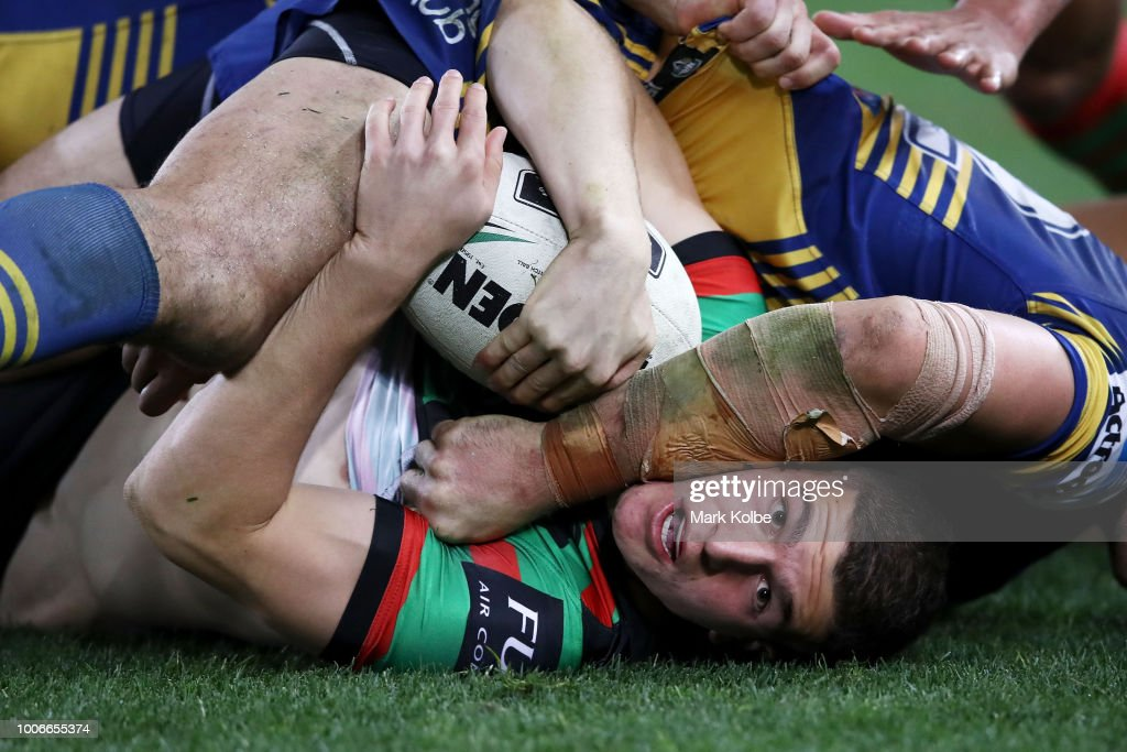 Graham Campbell of the Rabbitohs is tackled during the round 20 NRL match between the South Sydney Rabbitohs and the Parramatta Eels at ANZ Stadium on July 28, 2018 in Sydney, Australia.