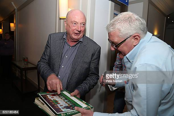 Graham Carr signs autographs during the Northampton Town 50th year Reunion to mark Season in League One at the Park Inn on April 9 2016 in...