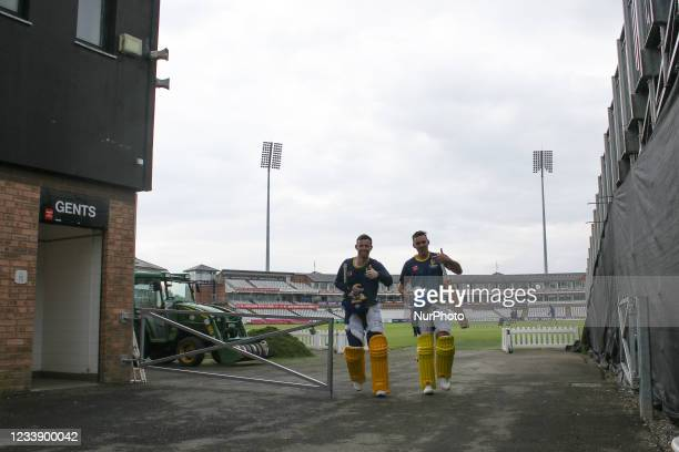 Graham Clark of Durham and David Bedingham of Durham seen ahead of the Vitality Blast T20 match between Durham County Cricket Club and Derbyshire...