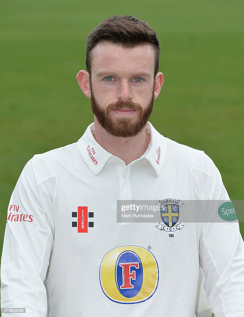 Graham Clark of Durham poses for a photograph during the Durham County Cricket Club photocall at the Riverside on April 8, 2016 in Chester-Le-Street, England.