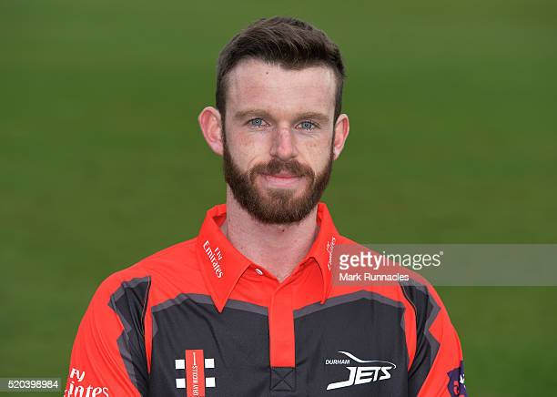 Graham Clark of Durham poses for a photograph in the T20 kit during the Durham County Cricket Club photocall at the Riverside on April 8 2016 in...