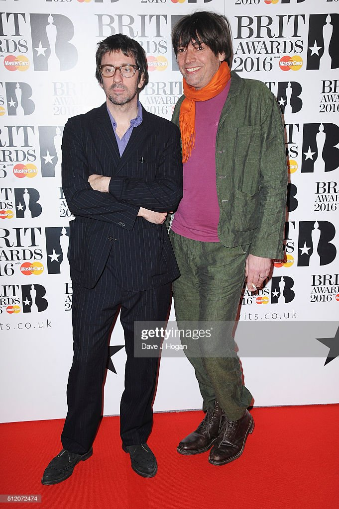 Graham Coxon and Alex James of Blur attend the BRIT Awards 2016 at The O2 Arena on February 24, 2016 in London, England.